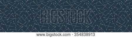 Seamless Geometric Criss Cross Vector Border Pattern. Modern Hand Drawn Scratch Pine Needle Marks Sh