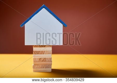 Real Estate Investment. House Mockup With Copy Space On Wooden Bricks. Immovable Property, Residenti