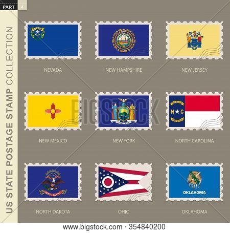 Postage Stamp With Usa States Flag, Collection Of 9 Us States Flag: Nevada, New Hampshire, New Jerse