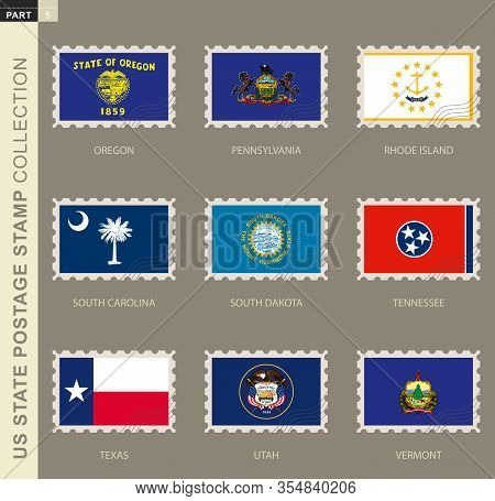 Postage Stamp With Usa States Flag, Collection Of 9 Us States Flag: Oregon, Pennsylvania, Rhode Isla