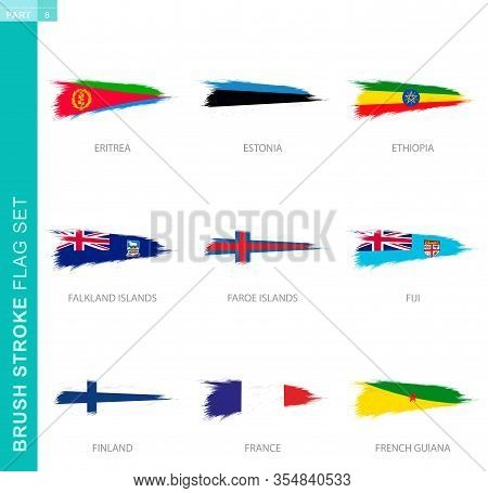 Vector Brush Stroke Flag Set, Nine Grunge Flag: Eritrea, Estonia, Ethiopia, Falkland Islands, Faroe