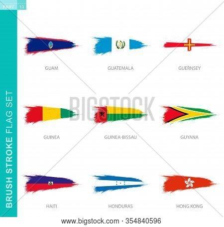 Vector Brush Stroke Flag Set, Nine Grunge Flag: Guam, Guatemala, Guernsey, Guinea, Guinea-bissau, Gu