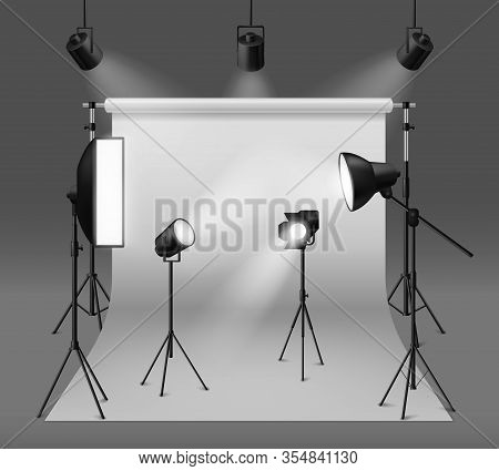 Studio Spotlights. Realistic Photo Studio With Professionals Equipment, Floodlight, Cyclorama And Tr