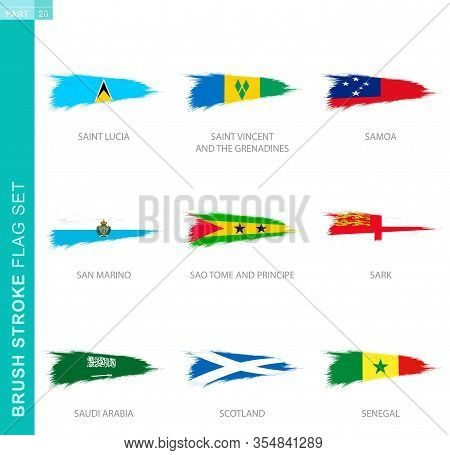 Vector Brush Stroke Flag Set, Nine Grunge Flag: Saint Lucia, Saint Vincent And The Grenadines, Samoa