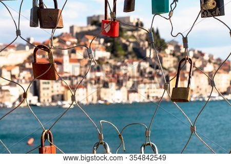 Love Chain Fence In Sibenik, Croatia