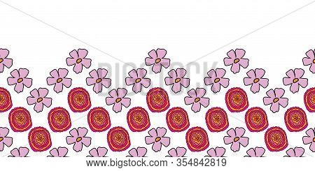 Color Zigzag Border-flowers In Bloom Seamless Repeat Pattern. Colourful Zigzag Flowers And Leaves Pa