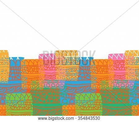 Graffiti Patchwork Border-geometric Patchwork Seamless Repeat Patter. Vivid And Fresh Illustrated Pa