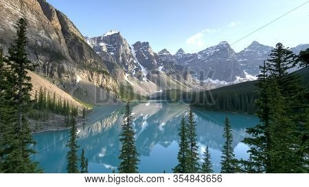 Moraine Lake On A Summer Afternoon At Banff Np In Canada