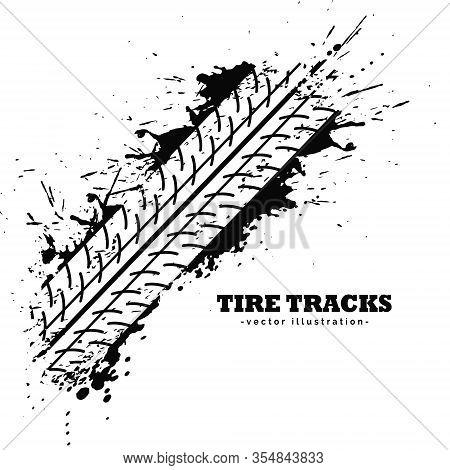 Tire Track Impression On White Background Vector Design Illustration