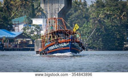 Kochi, India - 19th November 2019: Fishing Trawler Sailing In The Backwaters Of Kerala, India