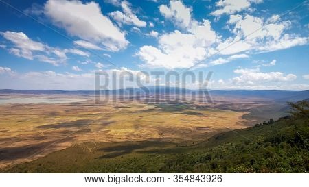 View From The Rim Of The Famous Ngorongoro Crater In Tanzania