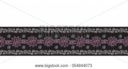 Modern Lace Border-love In Parise Seamless Repeat Pattern Background. Abstract Pattern Border Of Mod