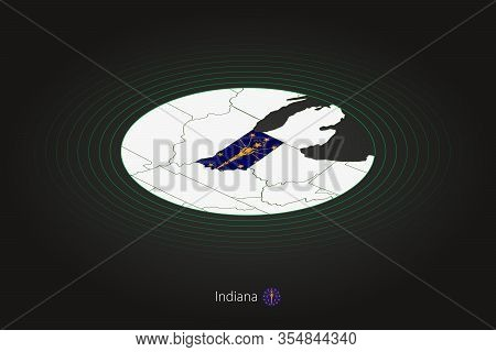 Indiana Map In Dark Color, Oval Map With Neighboring Us States. Vector Map And Flag Of Us State Indi