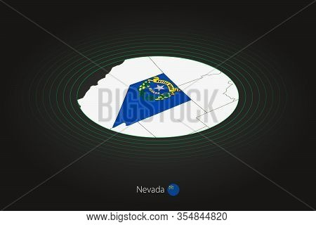 Nevada Map In Dark Color, Oval Map With Neighboring Us States. Vector Map And Flag Of Us State Nevad