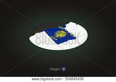 Oregon Map In Dark Color, Oval Map With Neighboring Us States. Vector Map And Flag Of Us State Orego