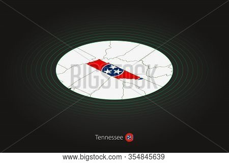 Tennessee Map In Dark Color, Oval Map With Neighboring Us States. Vector Map And Flag Of Us State Te