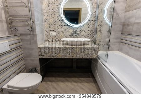 Interior Of A Stylish Modern Bathroom In The Apartment