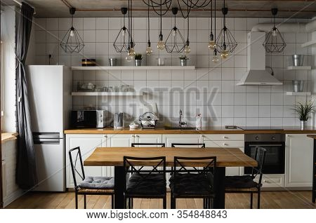 Modern, Bright, Clean, Kitchen Interior With Stainless Steel Appliances In A Luxury House. Kitchen I