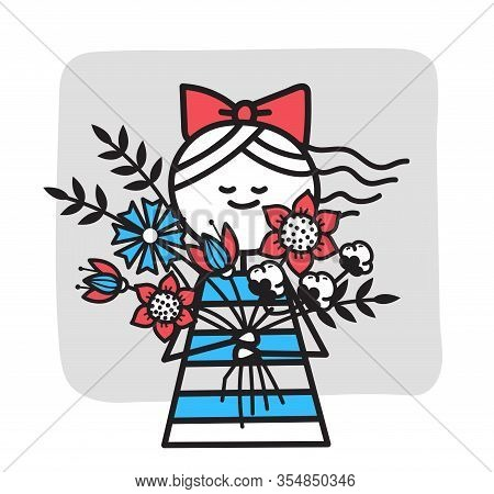 Happy Girl In Striped Dress With Red Bow Holds Bouquet Of Flowers. Girl Congratulates Her Mother. Sm