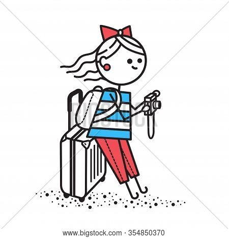 Girl Traveler In Striped T-shirt Came To New Country. Girl Stands With Suitcases And Photographs Att