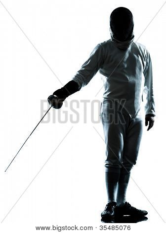 one man fencing saluting silhouette in studio isolated on white background