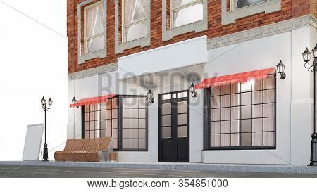 Exterior Of A Building With Two Mockups Or Banners For Your Text. The View From The Street Is A Benc
