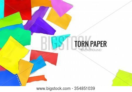 Ripped Torn Scrapbook Colorful College Notebook Pages Plain Paper Pieces Scattered Against White Bac