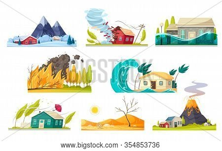 Natural Disaster Cartoon Style Set Of Isolated Compositions With Various Kinds Of Elemental Calamiti