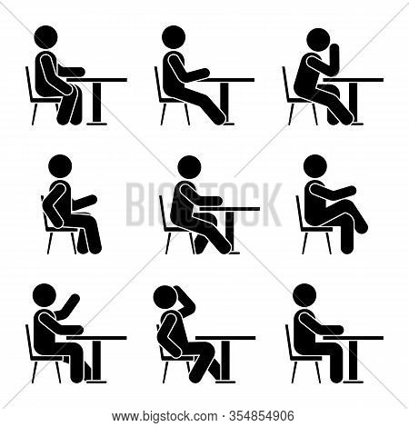 Sitting On Chair At Desk Stick Figure Man Side View Poses Pictogram Vector Icon Set. Boy Silhouette