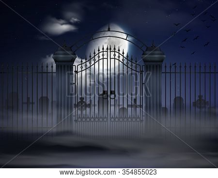 Halloween Dark Background With Old Cemetery Gates And  Silhouettes Of Grave Crosses In Moonlight Rea
