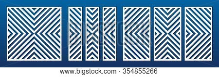 Laser Cut Panel Set. Vector Template With Abstract Geometric Pattern, Diagonal Lines, Stripes. Decor