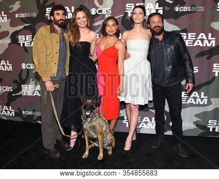 LOS ANGELES - FEB 25:  Justin Melnick, Rachel Boston, Toni Trucks, Jessica Pare and Judd Lormand arrives for ''Seal Team' Winter Premiere on February 25, 2020 in Hollywood, CA
