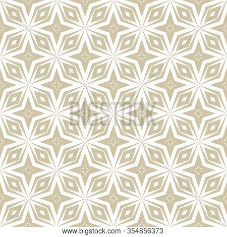 Golden Vector Abstract Geometric Seamless Pattern. Ornamental Texture With Diagonal Lines, Diamonds,