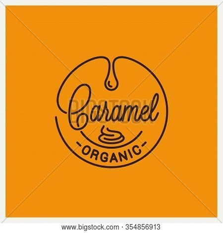 Caramel Logo. Round Linear Of Caramel On Yellow