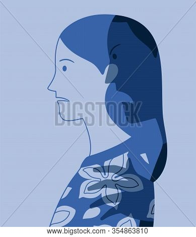 Vector Profile Portrait Of Young Woman Oppressed By Fear Of Male Violence Represented As A Dark And