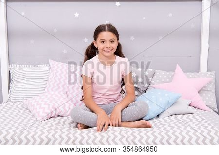 Feeling Relaxed In Pajamas. Little Child Wear Pajamas To Bed. Sleepwear And Pajamas For Kids. Home C