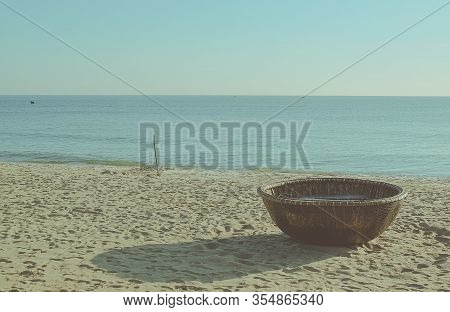 Traditional Round Basket Boats Made From Bamboo, On The Beach And Other Coastal Regions Of Center Vi