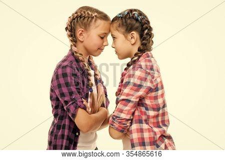 Childhood Friends. Little Friends Isolated On White. Small Friends Wear Long Plait Hair. Beauty Look