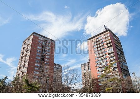 Belgrade, Serbia - April 2, 2018: High Rise Buildings From The District Of Blok 21 In Novi Beograd,