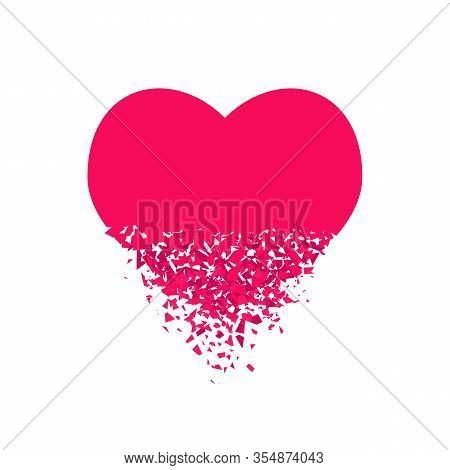 Exploding Heart With Debris. Isolated Red Illustration