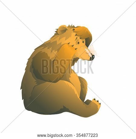 Emotional Naive Brown Bear And Butterfly On His Nose Humour Artistic Animals Cartoon Watercolor Styl