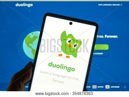 Montreal, Canada - March 08, 2020: Duolingo Logo And Application On A Cellphone. Duolingo Is A Platf