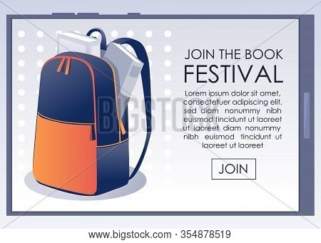 Book Festival Flat Announcement On Mobile Screen. Bookstore Sale On Educational Paper Editorial Mate