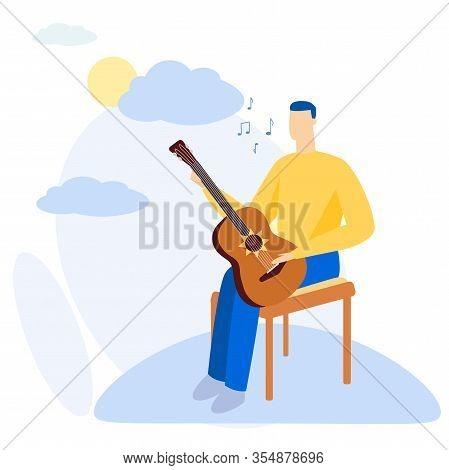 Bright Flyer Beautiful Song With Guitar Cartoon. Vector Illustration. Interesting Hobby. Man Improve