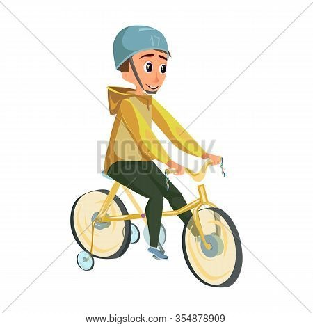 Cartoon Boy In Helmet Ride Training Wheel Bicycle Vector Illustration. Child Bicyclist. Happy Kid Si