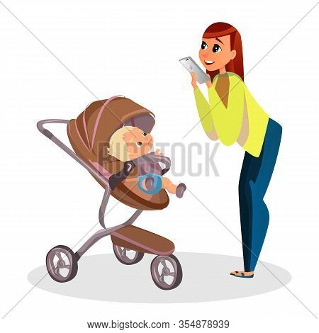Cartoon Mother Make Picture Of Son With Mobile Phone Vector Illustration. Smartphone Photo. Newborn