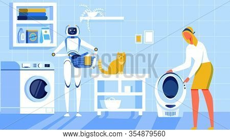 Home Automatization Cartoon Flat Vector Illustration. Robot Washing Clothing. Holding Laundry. Woman