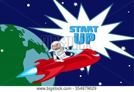 Impetuous Startup Launch Flat Color Illustration. Businessman In Space Suit Sitting In Spaceship Car