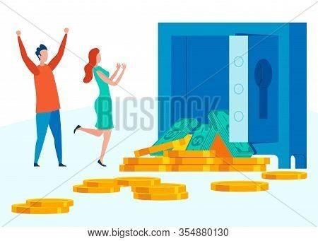 Inheriting Large Sum Of Money Vector Illustration. Keeping Money Safe In Bank Cartoon. Couple Receiv