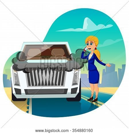 Business Lady In Suit Having Accident On Road Call For Help Via Smartphone. Broken Luxury Car With F